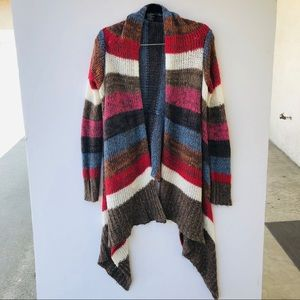 Ashley International Boho Stripe Cardigan Sweater